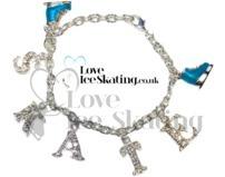 Turquoise & Crystal Ice Skating Charm Bracelet by ChloeNoel