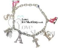 Pink & Crystal Ice Skate Charm Bracelet