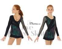 Mondor 661 Black Glitter Figure skating Dress