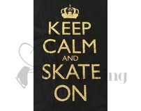 Keep Calm and Skate On Gold Glitter Black T-Shirt