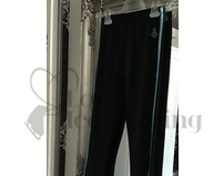 Sagester 424 Ice Skating Leggings Black with Turquoise Metallic Trim