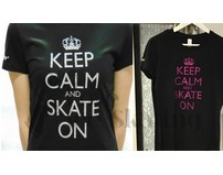 Keep Calm and Skate On Pink Glitter Black T-Shirt