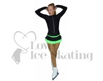 Thuono Neon Green Thermal Ice Skating Dress with Crystal Zipper