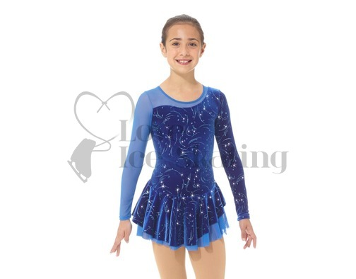 Mondor Velvet & Mesh Blue Figure Skating Dress
