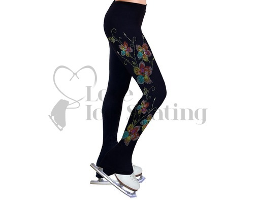 NY2 Ice Skating Leggings Rhinestone Coloured Flowers