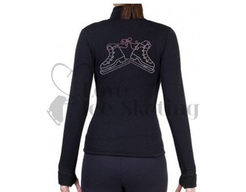 Figure Skating Polartec Fleece Jacket with Rhinestone pair of Skates