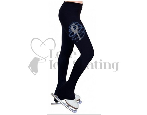 Figure Skating Leggings Rhinestone Catch Foot Spiral Baby Blue