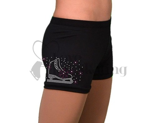 Chloe Noel Practice Shorts Black with Rhinestone Skate / Purple Snow Flakes