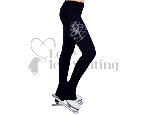 Ice Skating Leggings Rhinestone Catch Foot Spiral Light Purple