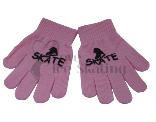 Pink Ice Skate Logo Stamped Magic Stretch Gloves