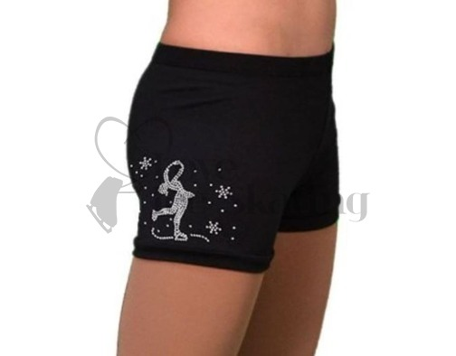 Chloe Noel Figure skating Shorts Black with Rhinestone Layback Ice skater
