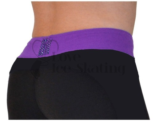 Chloe Noel PS35 Black with Purple Waist Band Skating Leggings w Swarovski  Crystals
