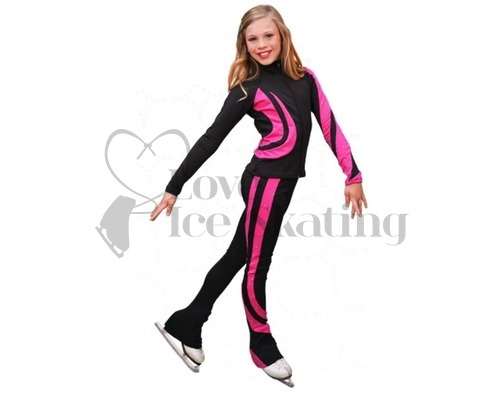 Chloe Noel Swirls Ice Skating Leggings P26 Fuchsia with Swarovski crystals