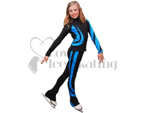 Chloe Noel Swirls Ice Skating Leggings P26 Turquoise with Swarovski Crystals