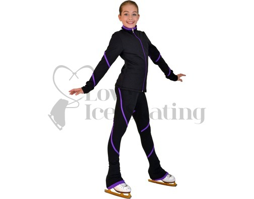 Chloe Noel Ice Skating Jacket Purple Piping Swirl
