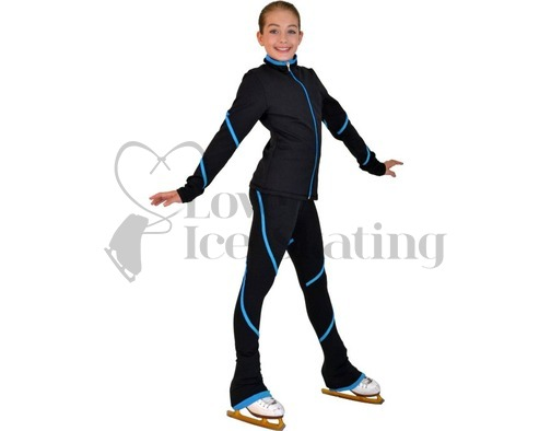 Figure Skating Jacket by Chloe Noel Turquoise Piping Swirl