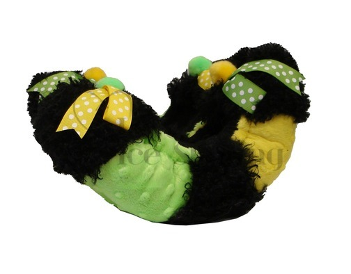 Fuzzy Soakers Black, Lime, & Yellow with Dotted Bows - DB50