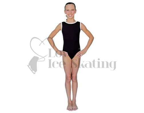 Chloe Noel Black Leotard GL111 with White Contrast Binding
