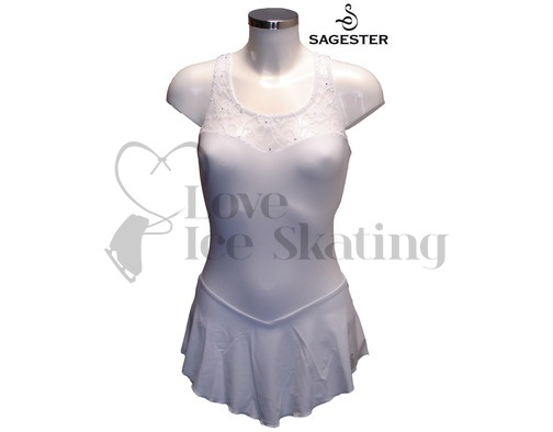 Sagester Figure Skating Dress White with Swarovski AB Crystals