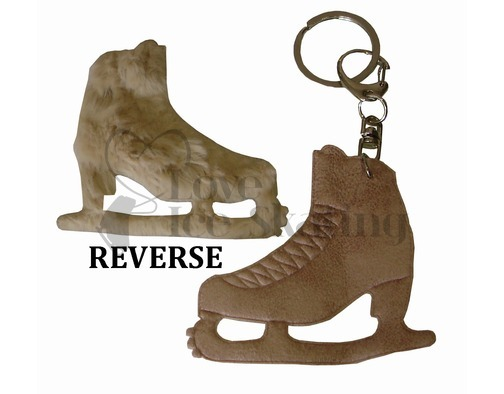 Light Brown with Fur Ice Skating Figure Skate Keyring