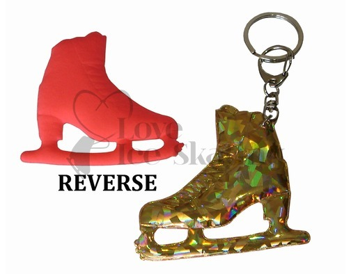 Neon and Gold Ice Skating Figure Skate Keyring