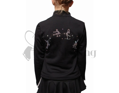 Chloe Noel J11 Ice Skating Polar Fleece Jacket with Four Crystal Skaters Arc