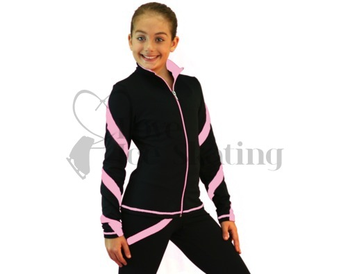 Figure Skating Jacket J36 Black with Pink Spiral by Chloe Noel