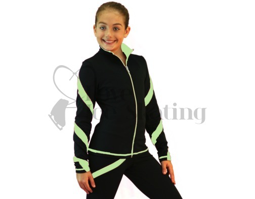 Figure Skating Jacket J36 Black with light Green Spiral by Chloe Noel