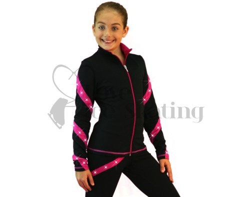 Ice Skating Jacket J36 Black & Fuchsia Spirals with Swarovski Crystals