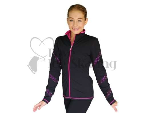 Chloe Noel JS96 Figure Skating Jacket with Fuchsia Crystal Spiral