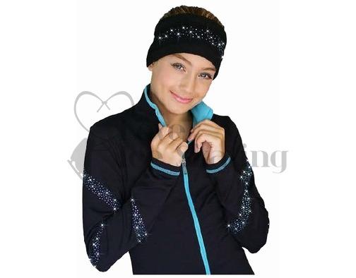 Chloe Noel Black Polar Fleece Headband with Cyrstals