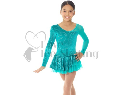 Mondor Ice Skating Dress Aqua Green with Glitter Design