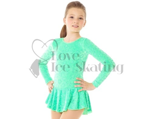 Lime Green Ice Skating Dress with Glitter Animal Print by Mondor