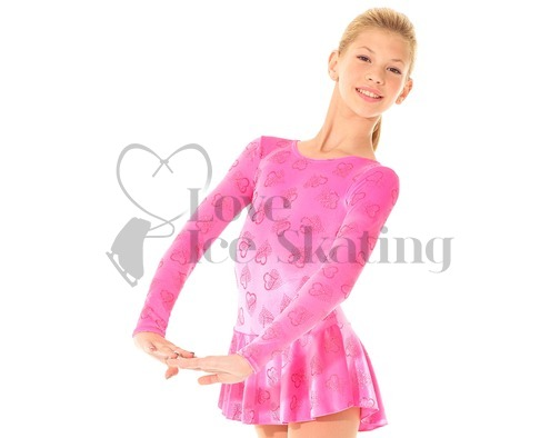 Pink Ice Skating Dress with Pink Glitter Hearts by Mondor 2723