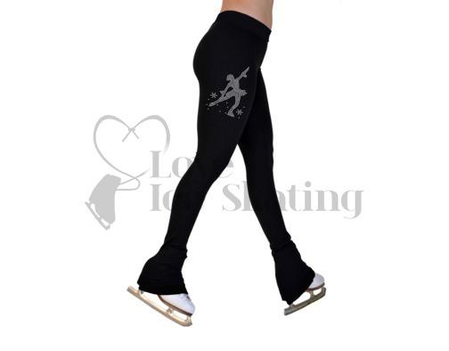Chloe Noel P22 All Black Ice Skating Pants w Rhinestone Skater MSK