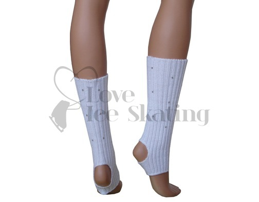 White Legwarmers with Rhinestones