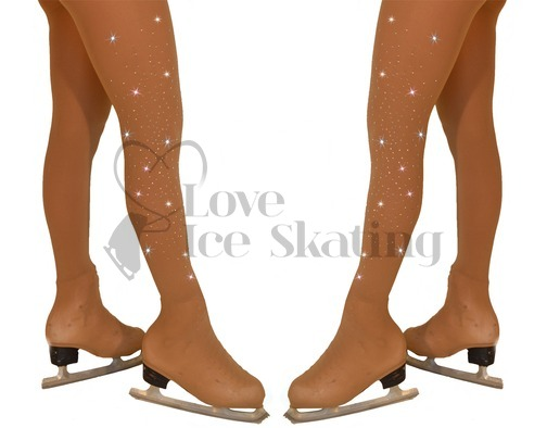 Chloe Noel Over the Boot Medium Tan Tights with Crystal Spray Down 2 Legs