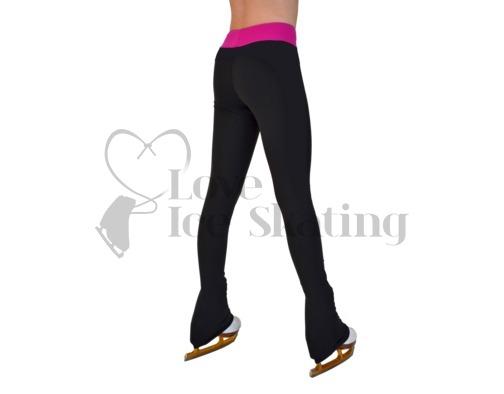 Chloe Noel PS35 Black Ice Skating Leggings with Fuchsia Waistband