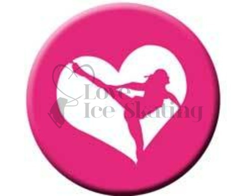 Figure Skating Spiral Pink Heart badge