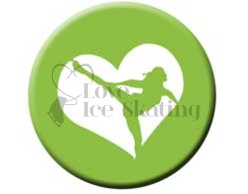 Figure Skating Spiral Green Heart badge