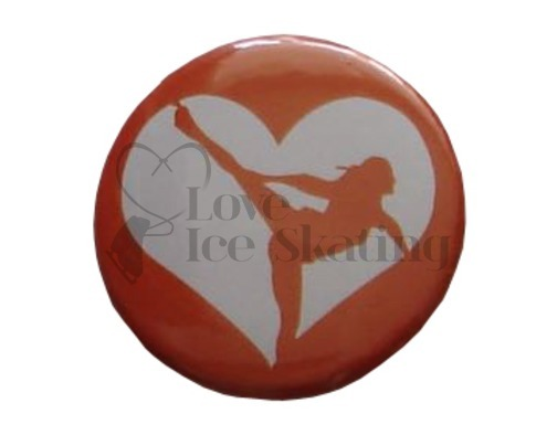 Bronze Ice Skating Spiral Heart badge