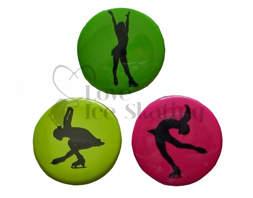 3 Ice Skating Fluorescent Badges