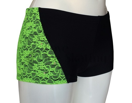 Sagester 449 Ice Skating Shorts Green Neon Lace with Swarovski Crystals