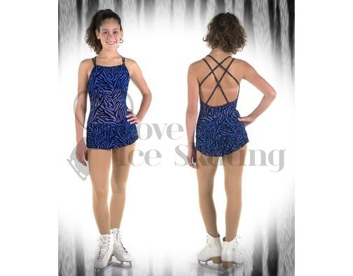 Sagester Ice Skating Dress Blue Animal Print with Swarovski AB Crystals