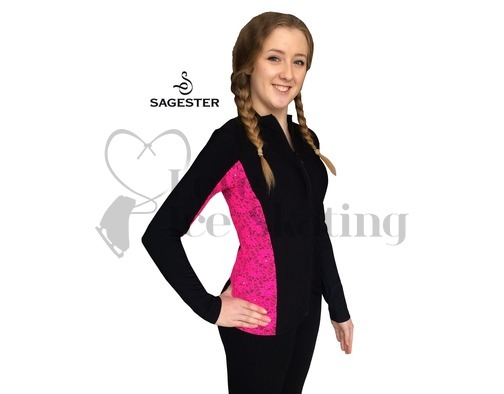 Sagester 261 Ice Skating Jacket with Fushcia Neon Lace Insert & Swarovski Crystals