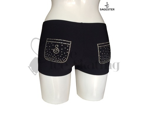 Black Ice Skating Swarovski Crystals Pocket Shorts by Sagester 448