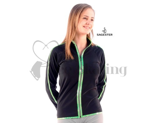 Sagester 252 Ice Skating Jacket with Green Metallic Trim