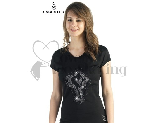 Black Ice Skating T-Shirt with Crystal Catch Foot Skater by Sagester