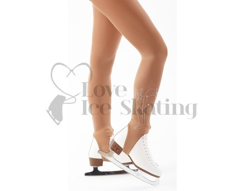 Intermezzo Stirrup Tan Ice Skating Tights with Rhinestone Design
