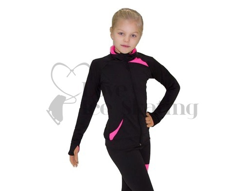 JIV Figure Ice Skating Training Jacket Black with Pink